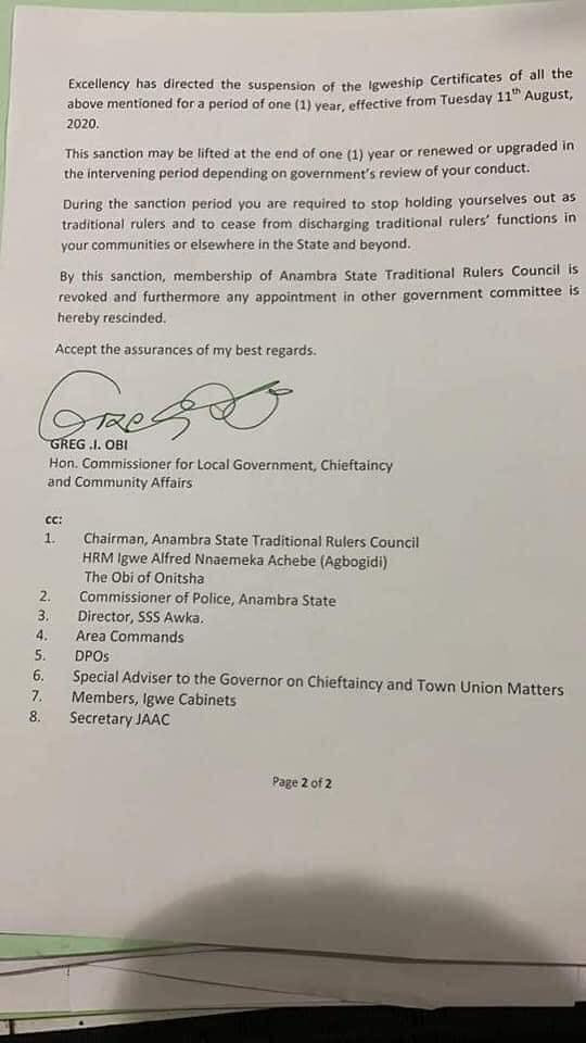 Governor Obiano suspends 12 monarchs for visiting Buhari