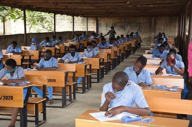 Photos of Nigerian students taking their WASSCE examinations