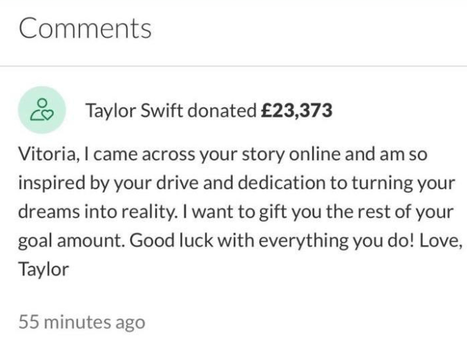 Taylor Swift donates ?23,000 to teenager who set up a GoFundMe so she could attend university