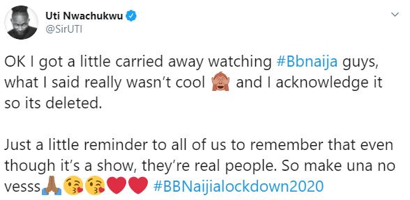 Uti Nwachukwu apologises and deletes his unflattering tweet about BBNaija housemate Laycon