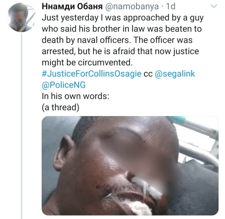 Nigerian man demands justice for his brother in-law who was allegedly beaten to death by naval officers in Lagos over N250 (graphic)