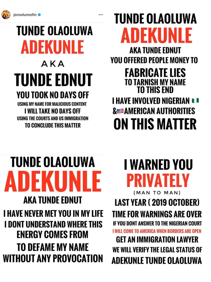 Joro Olumofin Takes Legal Action Against Tunde Ednut In The Us As Their Beef Intensifies Latest Nigerian News And Entertainment Écoutez baby boo par tunde ednut sur deezer. latest nigerian news and entertainment