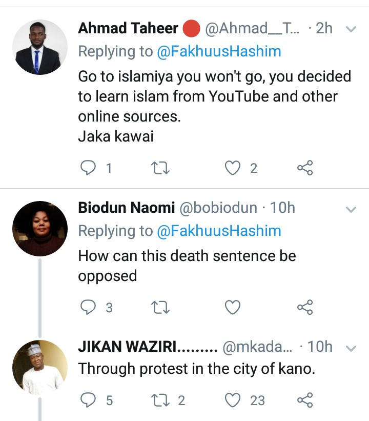 Muslim woman is cursed for opposing the death sentence on Kano singer