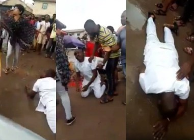 Man breaks down in tears and rolls in the mud after his girlfriend rejected his marriage proposal in Imo (video)