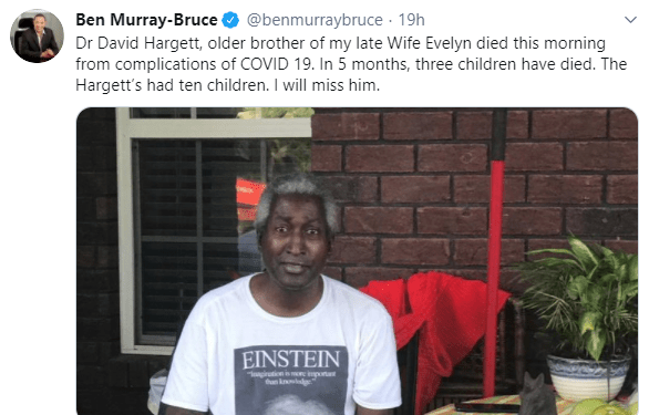 Months after losing his wife to cancer, Senator Ben Bruce loses brother in-law to COVID-19