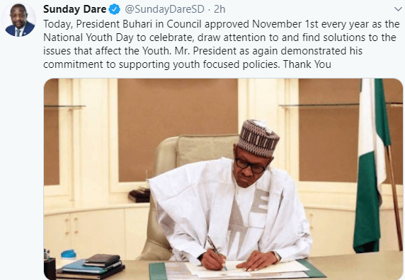 The Minister of Youths and Sports Development, Sunday Dare, disclosed this on his Twitter handle on Wednesday, 2nd of September
