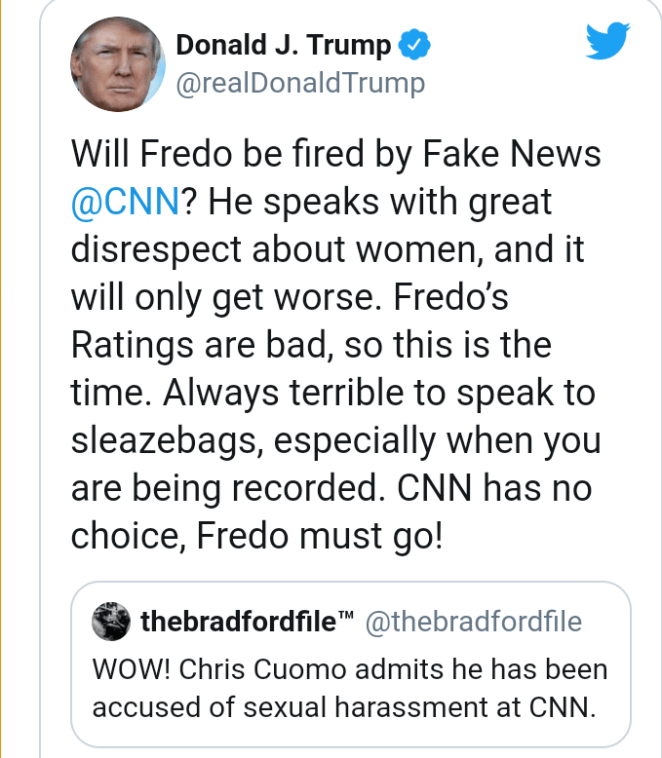 Trump says CNN ?should fire? TV host, Chris Cuomo after sexual harassment allegations are leaked on Fox News