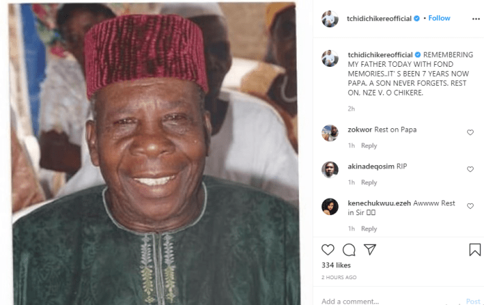 A son never forgets - Tchidi Chikere pens down tribute to father 7 years after his death