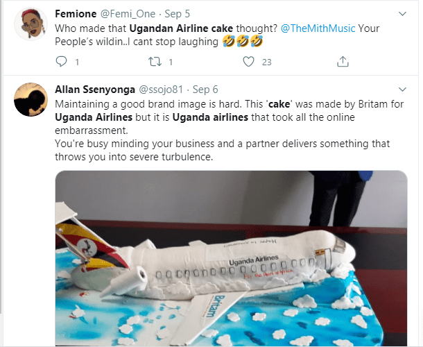 Ugandan Airlines anniversary cake which looks like a
