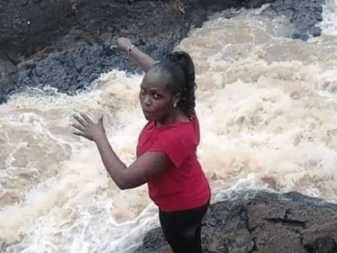 Lady plunges to her death while posing for photos during an outing with her fiance? in Kenya