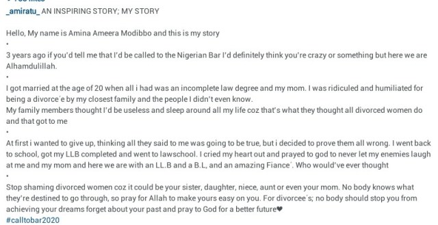 """""""I was ridiculed by closest family for being a divorc?e""""- 23-year-old Muslim woman shares her inspiring story as she is called to the Nigerian Bar"""