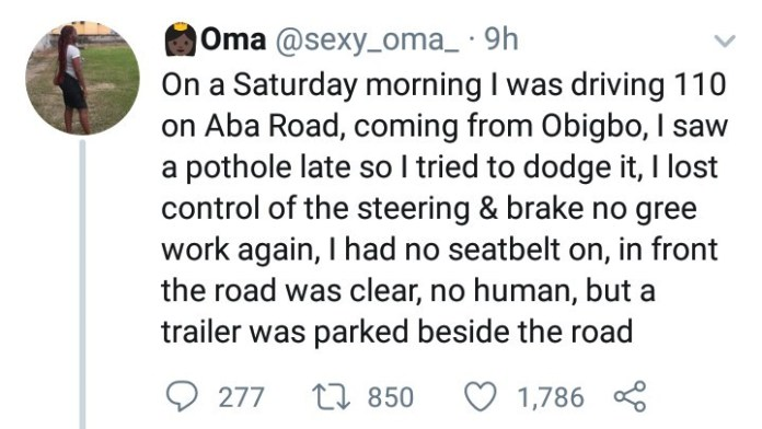 Woman narrates how screaming the name of Jesus saved her when her car ran under a trailer