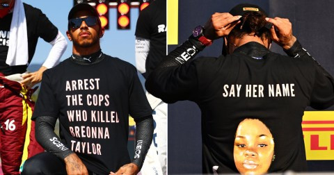 Black Lives Matter: Lewis Hamilton wears Breonna Taylor t-shirt as he calls for justice at Formula One race (photos)