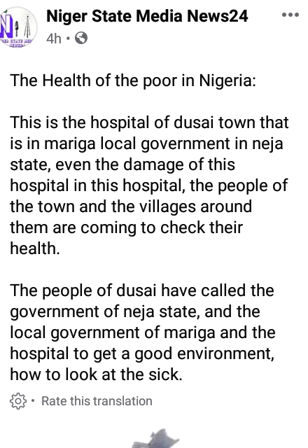 "Photo: This is reportedly a functioning ""hospital"" in a Niger state community"