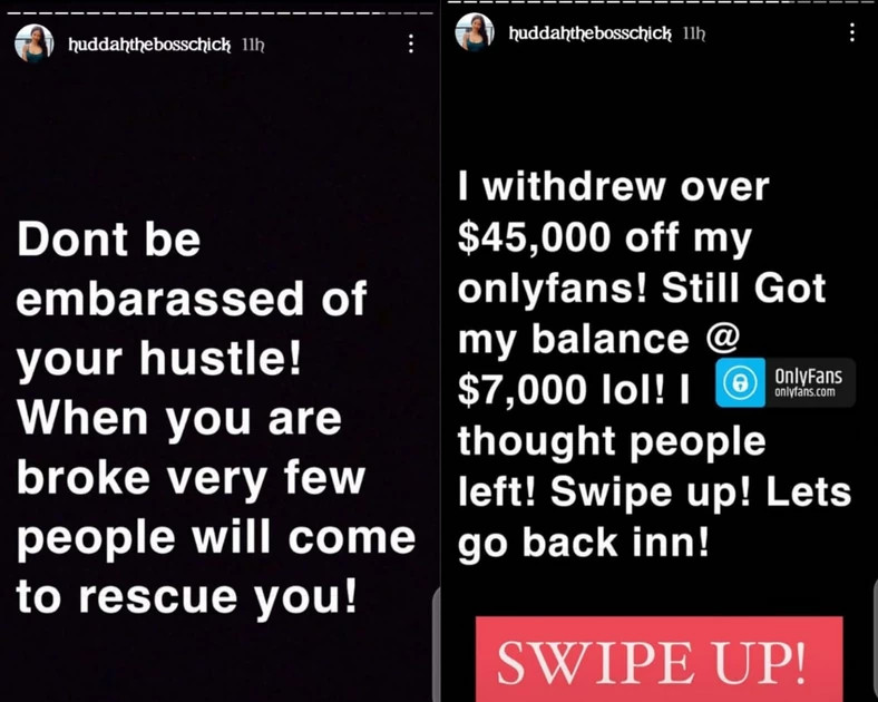 Don?t be embarrassed by your hustle - Huddah Monroe reveals she made N20m from sharing her nude photos and videos on OnlyFans