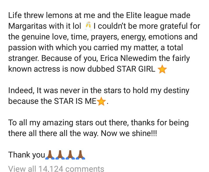 """""""It was a sad moment for me"""" Erica Nlewedim writes in first Instagram post since being disqualified from the Big Brother Naija reality show"""