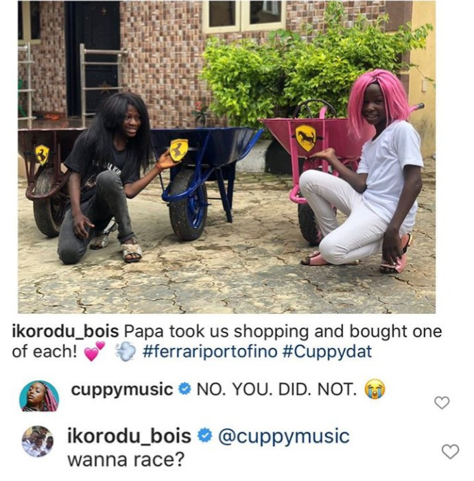 """Between DJ Cuppy and Ikorodu Bois as they  challenge her to a race while showing off their own """"Ferraris"""""""