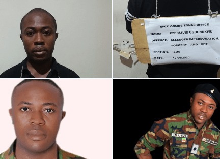 Bauchi Polytechnic student who parades himself as an Army Lieutenant so he can defraud people, has been arrested (photos)