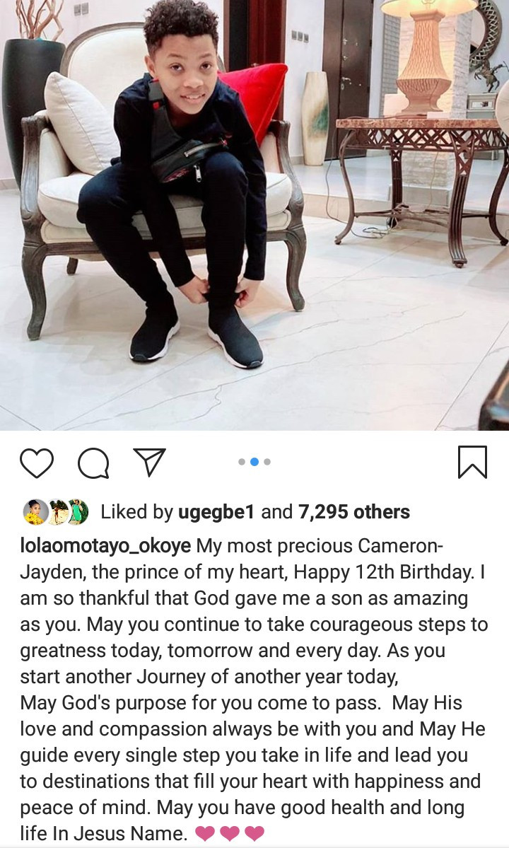 Peter Okoye and Lola Omotayo-Okoye release photos of their son to celebrate him as he turns 12