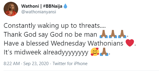 I?m constantly waking up to threats ? ex-BBNaija lockdown housemate, Wathoni, says