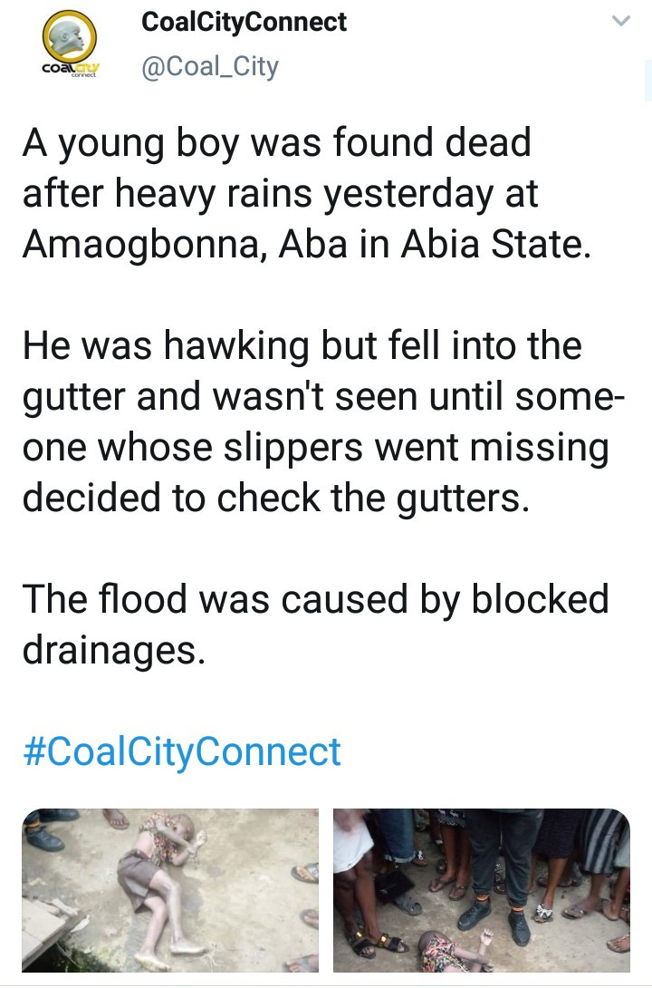 Boy hawking in Aba falls into gutter and drowns after heavy rainfall (graphic photos)