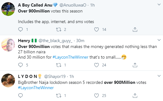 Nigerians react as Multichoice MD reveals 900million people voted in Big Brother Naija season 5 making it the highest ever recorded votes