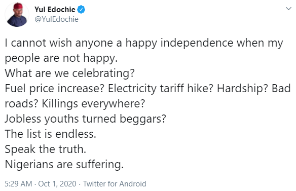 """""""What are we celebrating?"""" Yul Edochie details the hardships Nigerians are currently facing as the country marks 60th Independence Day"""