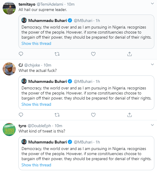 """This is rubbish"" Nigerians react as President Buhari says in Independence Day speech ""If some constituencies choose to bargain off their power, they should be prepared for denial of their rights"""