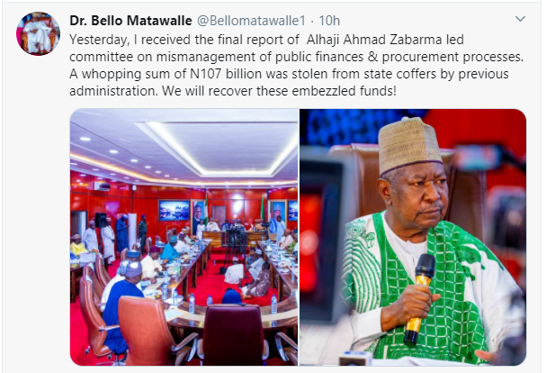 N107bn was stolen in previous administration - Governor Matawalle alleges