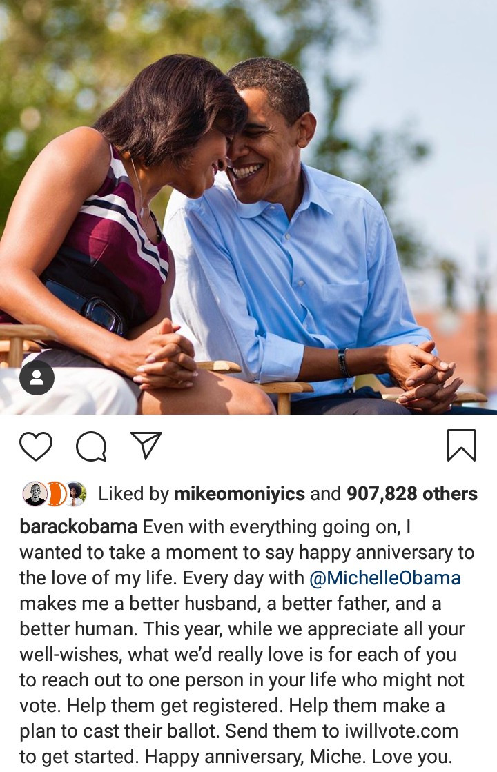 Barack and Michelle Obama celebrate their 28th wedding anniversary with heartwarming message