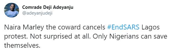 Activist, Deji Adeyanju calls Naira Marley a coward for cancelling his planned #EndSARS brutality protest
