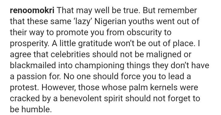 Reno Omokri berates Tacha for referring to one of her critics as a