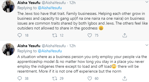 Argument ensues as Aisha Yesufu says Igbos are