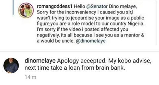 """Next time take a loan from a brain bank""- Dino Melaye blasts Roman Goddess as he accepts her apology"