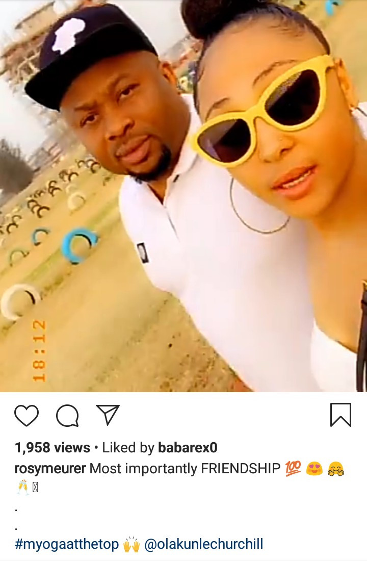 """My Oga at the top"" Rosy Meurer writes as she takes a walk with Okakunle Churchill (video)"