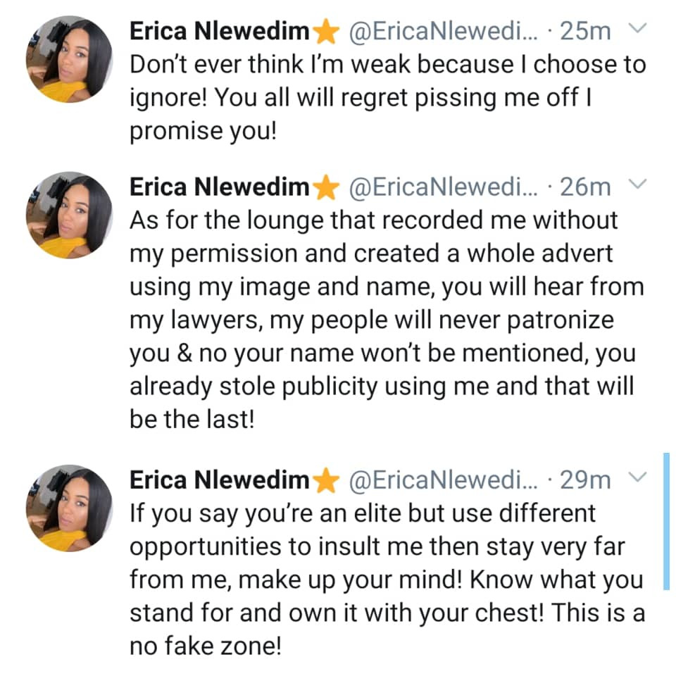 Don?t ever think I?m weak because I choose to ignore - BBNaija star, Erica rants on Twitter