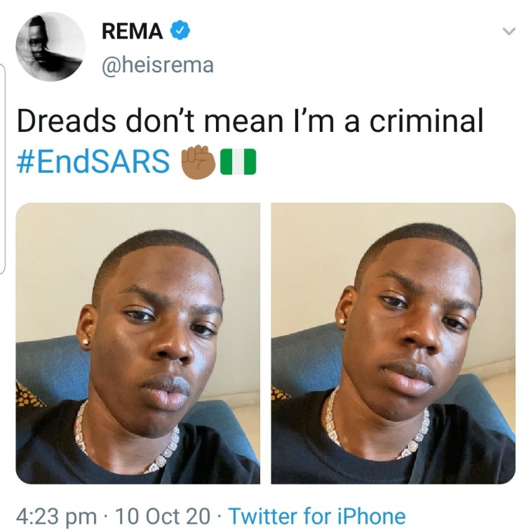 Singer, Rema gets rid of his trademark dreadlocks in protest against SARS (photos)