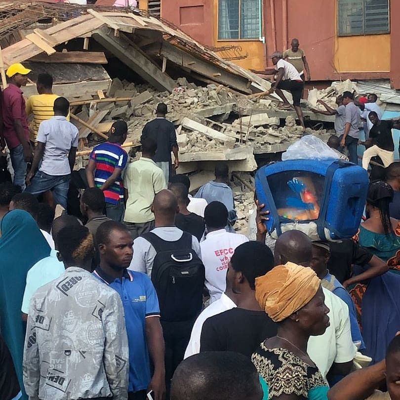 Six confirmed dead as building under construction collapses in Lagos (photos)