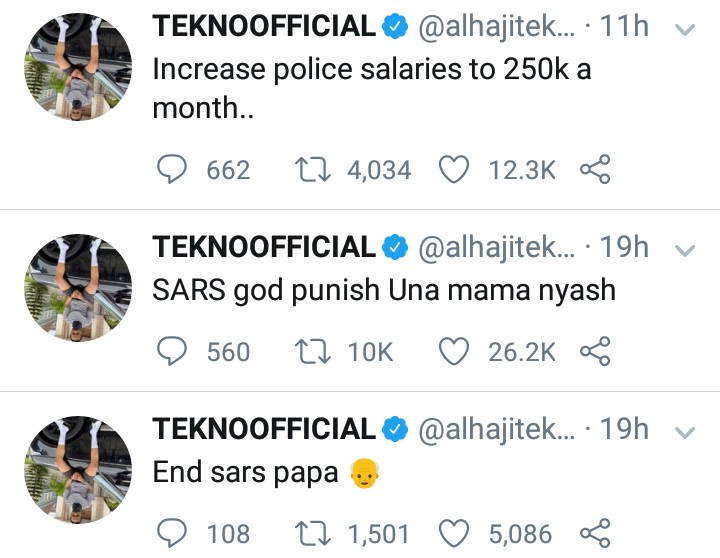 """""""Increase police salaries to N250k per month"""" Tekno suggests after calling on the government to end SARS"""