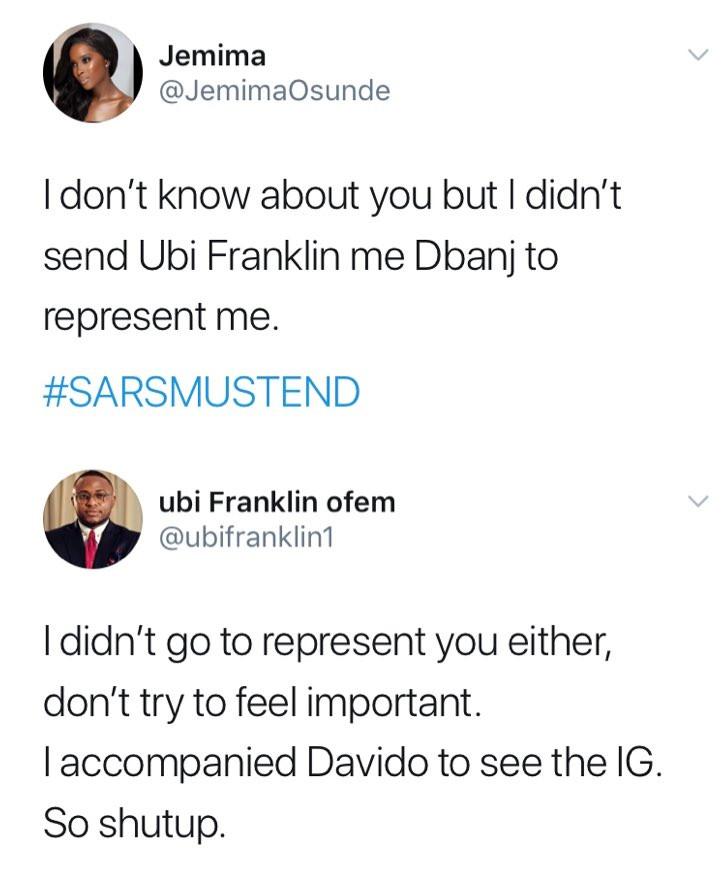 #EndSARS: Actress Jemima Osunde and Ubi Franklin clash on Twitter
