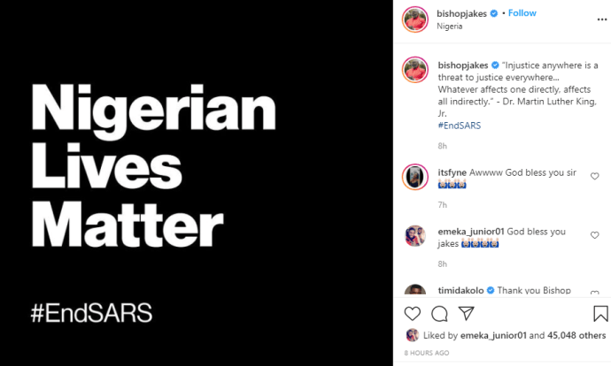 Injustice anywhere is a threat to justice everywhere - Bishop T.D Jakes lends voice to #EndSARS protest lindaikejisblog 1