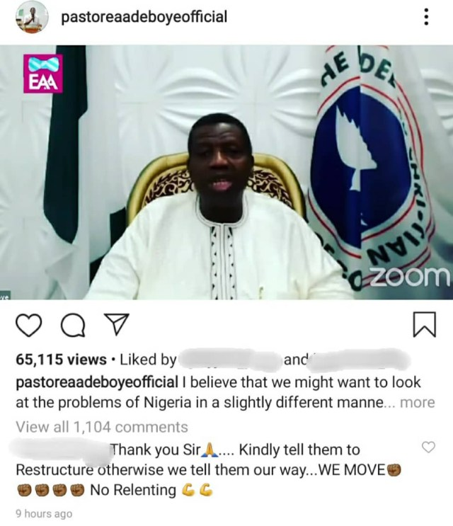 """""""It is either we restructure Nigeria or we break up""""- Pastor Adeboye says as he lends his voice to #Endpolicebrutality campaign (video)"""