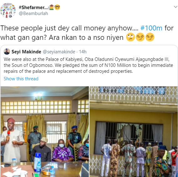 Nigerians slam Governor Makinde for donating N100m for monarch