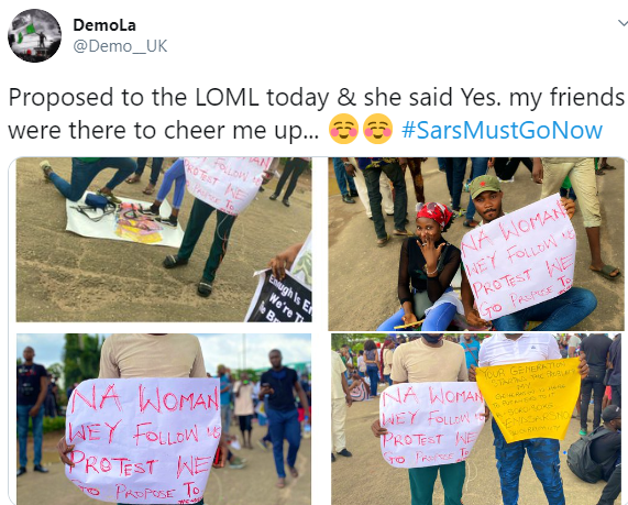 5f86fa29e1168 Nigerian man proposes to his girlfriend at #EndSARS protest in Lagos (photos)