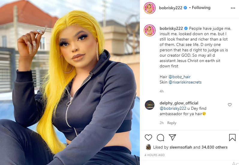 When I started making money, people were saying I sleep with politicians and I use charms - Bobrisky