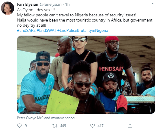 Russian woman takes part in Lagos #EndSARS protest and gives reasons for her participation