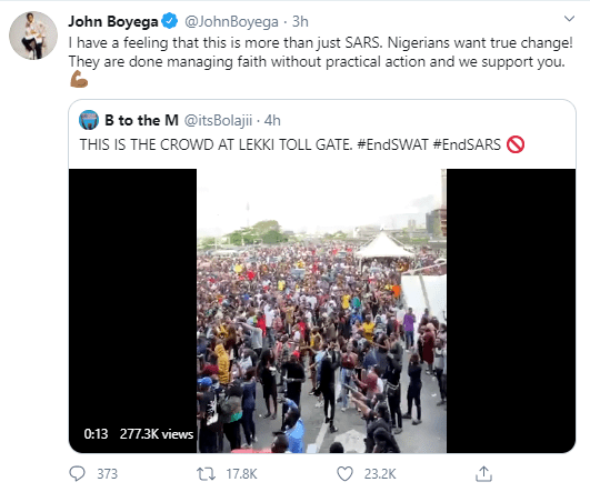 """I have a feeling this is more than just SARS"" John Boyega comments on the continued #EndSARS protest after SARS was dissolved"