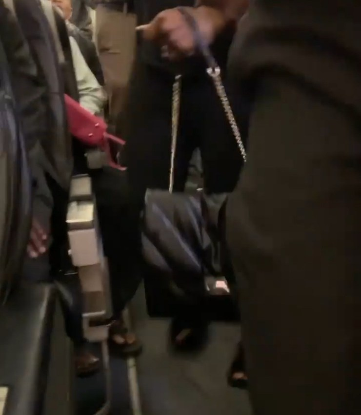 "Lady escorted out of a commercial flight after she allegedly refused to put her ""expensive bag"" in the upper cabinet or on the floor (video)"