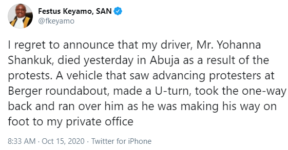 I lost my driver in the Abuja #EndSARS protest- Festus Keyamo says