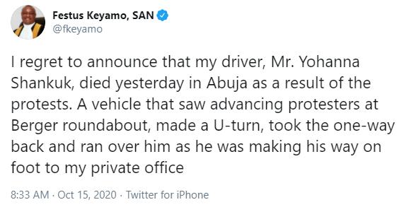 I lost my driver in the Abuja #EndSARS protest- Festus Keyamo says